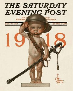 Saturday Evening Post cover, J.C. Leyendecker, New Year's baby wearing military helmet.