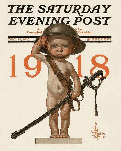 Saturday Evening Post cover, J.C. Leyendecker, New Year's baby wearing military helmet.