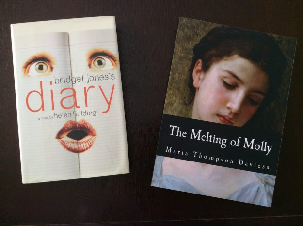 Photograph of Bridget Jones's Diary by Helen Fielding and The Melting of Molly by Maria Thompson Daviess.