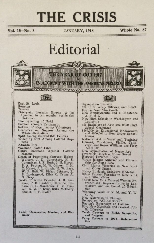 The Crisis editorial page, January 1918.
