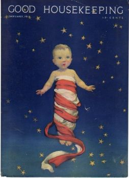 Good Housekeeping cover, January 1918, baby wrapped in flag with starry sky