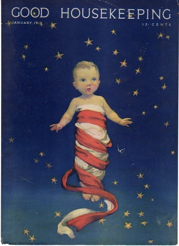 Good Housekeeping January 1918 cover showing swaddled baby in front of starry sky.