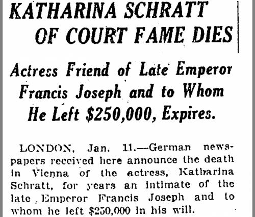 New York Times headline, Katharina Schmitt of Court Fame Dies.