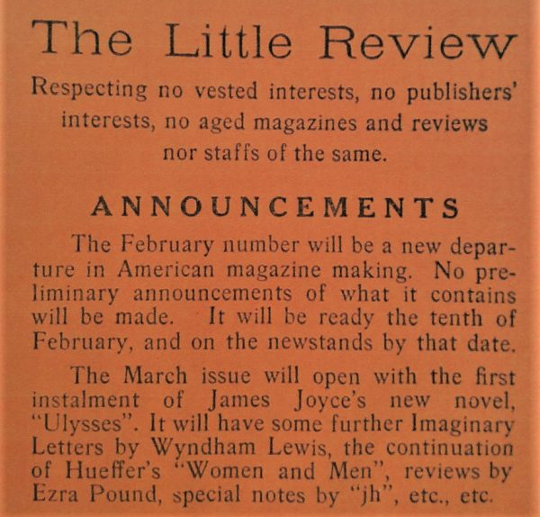 The Little Review announcement of Ulysses publication, 1918