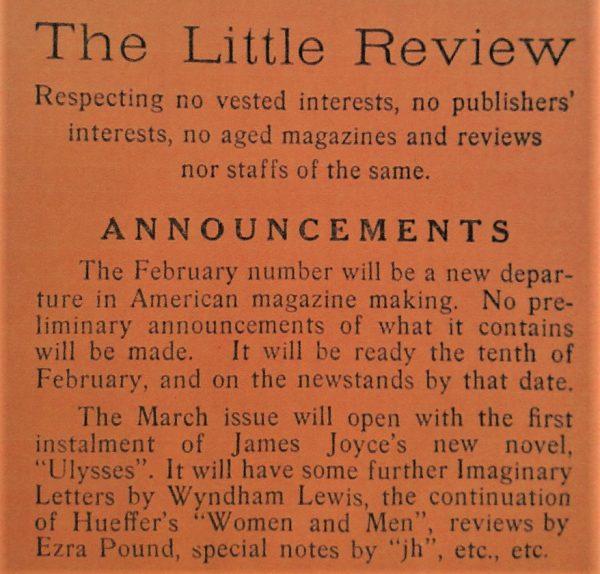The Little Review announcement of Ulysses publication, 1918