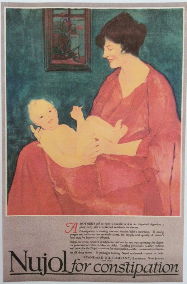Nujol constipation ad, painting of mother holding baby. 1918.