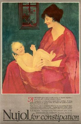 1918 Nujol constipation advertisement. Painting of smiling woman holding baby.