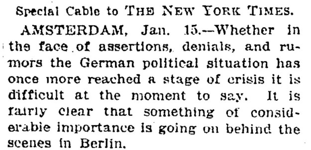 "New York times text, ""it is fairly clear that something of considerable importance is going on in Berlin."""