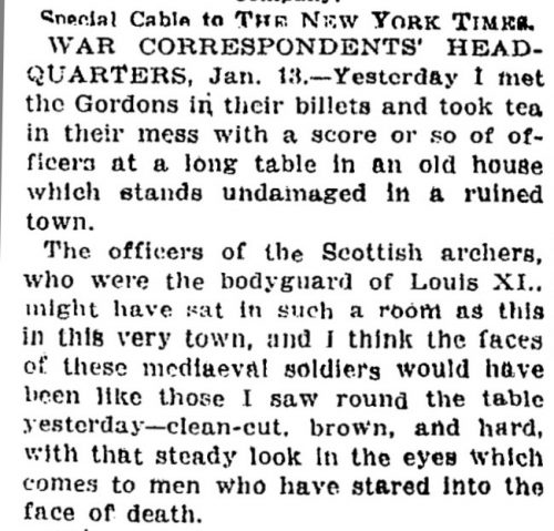 "New York Times text, ""Yesterday I met the Gordons in their billets and took tea..."""