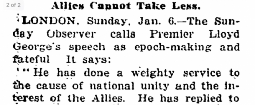 New York Times text, January 6, 1918