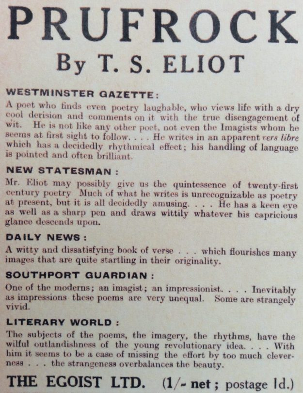 Advertisement for Prufrock by T.S. Eliot.