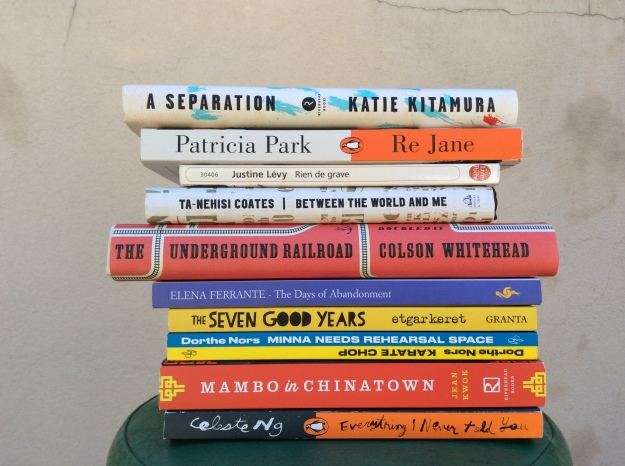 Pile of books with Katie Kitamura's A Separation on top.