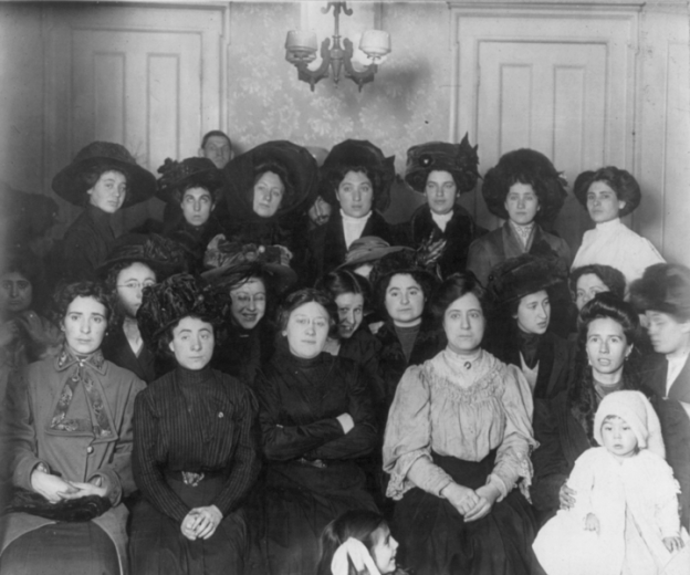Posed photo of striking shirtwaist factory workers, 1910.