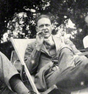 Photograph of T.S. Eliot in lawn chair, Otteline Morrell, 1923.