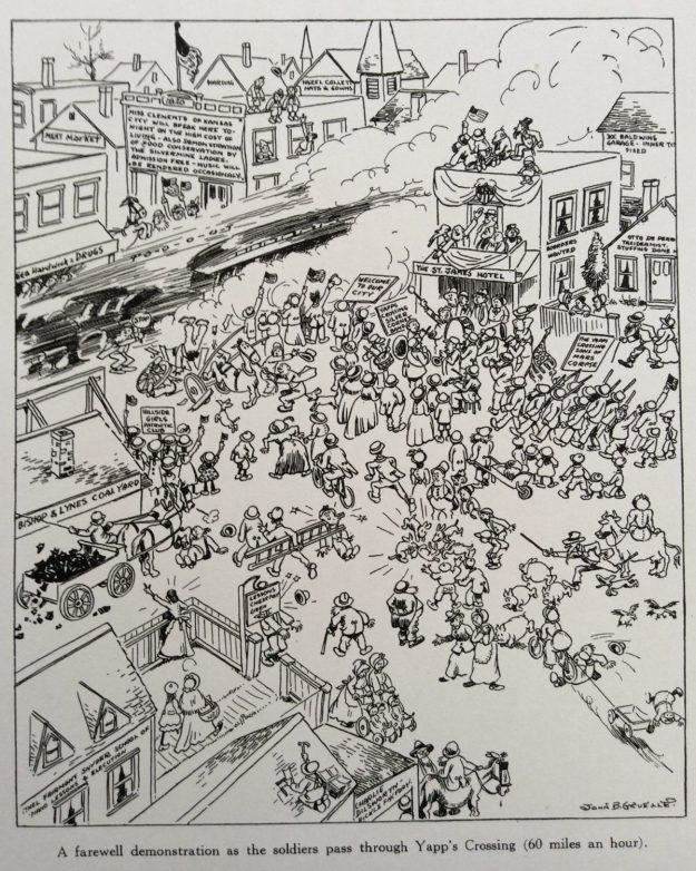 Judge Cartoon, soldiers pass through Yapp's crossing, Johnny Gruelle, January 3, 1918.