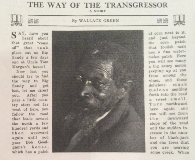 Headline and photograph illustration, The Way of the Transgressor, The Crisis, January 1918.