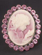 photograph of cameo, girl looking at hand surrounded by gemstones.