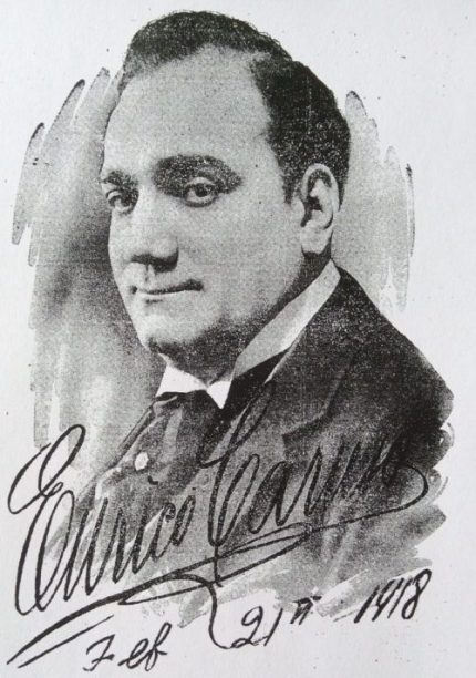 Photograph of Enrico Caruso above autograph and date, Feb 21st 1918.