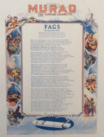 Poem, Fags, Murad cigarette advertisement, 1918.