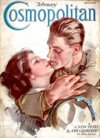 Harrison Fisher Cosmopolitan cover, soldier kissing wife, February 1919.