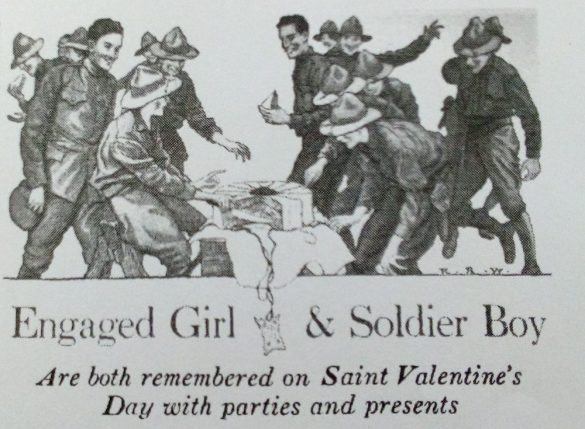 Woman's Home Companion illustration, Engaged Girl and Soldier Boy Valentine's Day parties, February 1918.