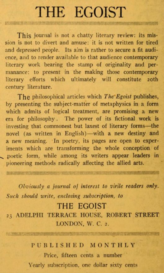 "Little Review ad for The Egotist, ""obviously a journal of interest to virile readers only."""