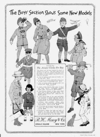 Macy's boys' clothing ad, Harper's Bazar, 1918.