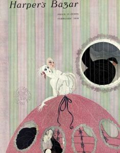 February 1918 Harper's Bazar cover by Erté. Masked woman with man hiding inside her hoop skirt.