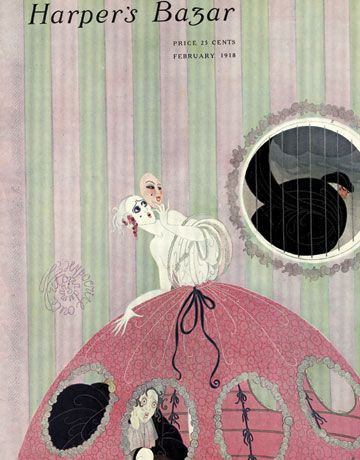 Erté Harper's Bazar cover, February 1918, masked woman looking out window at man.