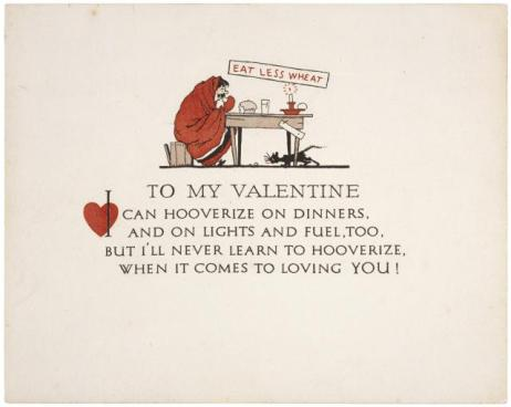 1918 Hooverizing-themed valentine.