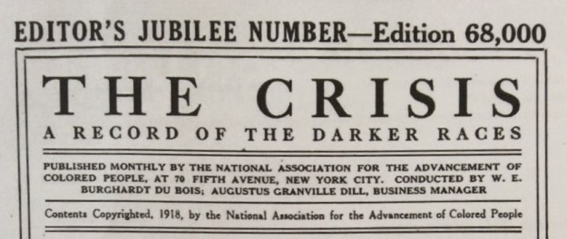 Top of title page of The Crisis, February 1918, Editor's Jubilee Number.