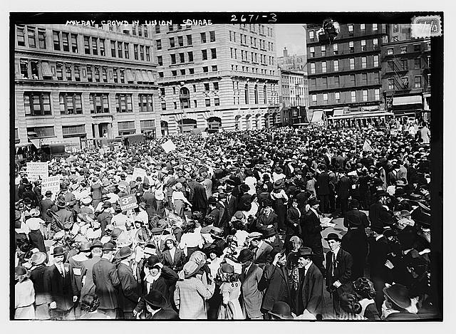 Crowd of workers marching in Union Square, New York, 1913.