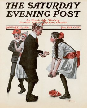 Norman Rockwell Saturday Evening Post cover, boy stepped on girl's toe at dance, January 26, 1918.