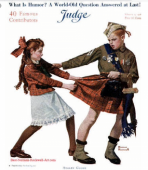 Norman Rockwell Judge magazine cover, girl grabbing tartan skirt from brother dressed as a Scottish soldier.