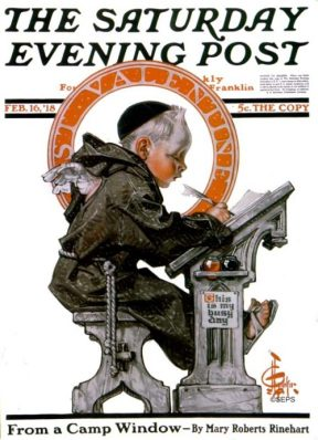 J. C. Leyendecker Saturday Evening Post cover, St. Valentine writing, February 16, 1918.