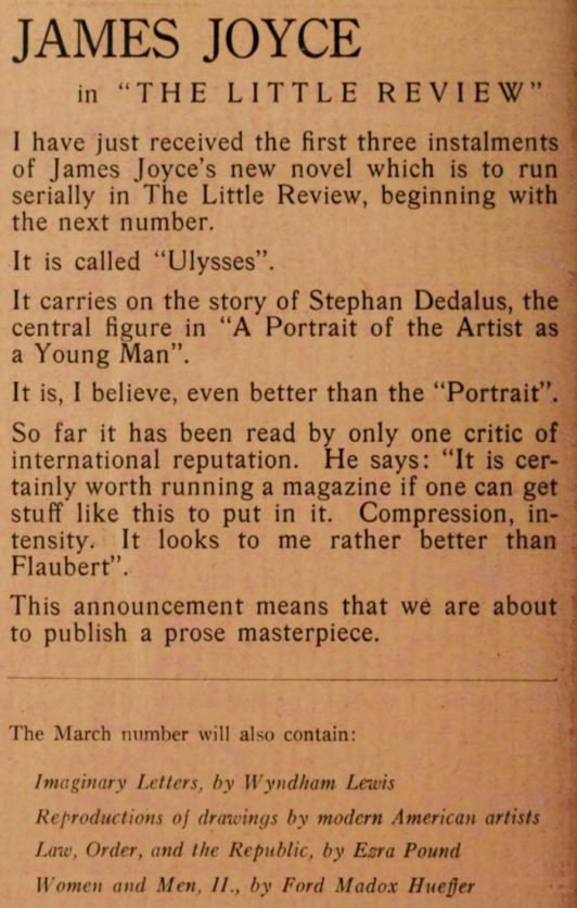 Little Review ad for Ulysses serialization, February 1918.