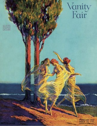 Vanity fair cover, three topless nymphs dancing in front of a tree, February 1919.
