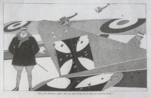 Lawrence Fellows illustration, Judge magazine, 1918, man standing near airplanes.