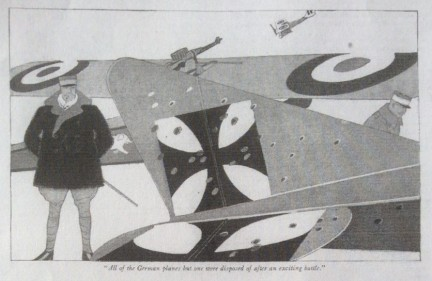 Lawrence Fellows illustration, Judge magazine, 1918, man standing near airplanes.