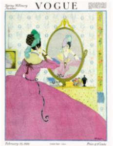 Helen Dryden Vogue cover, February 1918, woman in pink hoop skirt looking into mirror.
