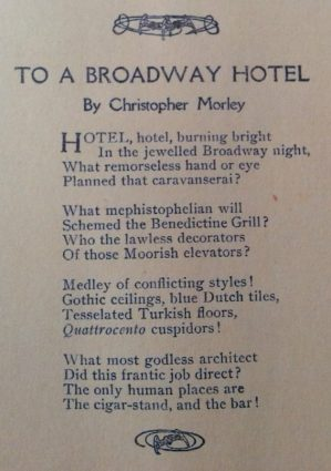 Christopher Morley poem, To a Broadway Hotel, Smart Set magazine, 1918.