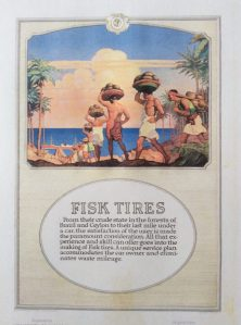 Fisk Tires ad with dark-skinned men carrying things on their heads next to palm trees, 1918.