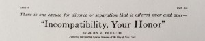 Sunset magazine article headline, Incompatibility, Your Honor, May 1916.