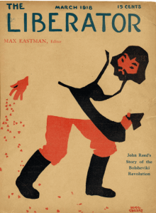 March 1918 Liberator magazine cover by Hugo Gellert. Drawing of man in cutout style.