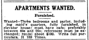 New York Times ad for a three-bedroom furnished apartment, $100 a month, March 1918.