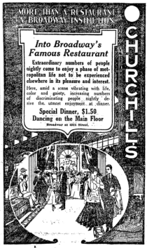 Churchill's Restaurant ad, New York Times, 1918.