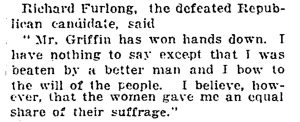 "New York Times article quoting a defeated Republican candidate saying ""I was beaten by a better man,"" 1918."