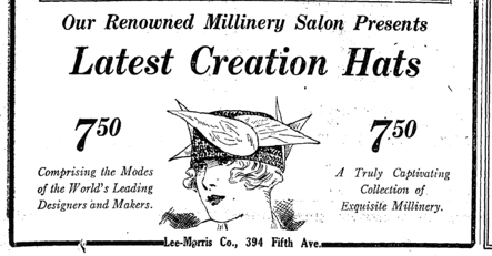 Hat ad, New York Times, March 1918.