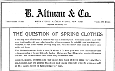 B. Altman ad, The Question of Spring Clothes, March 1918.