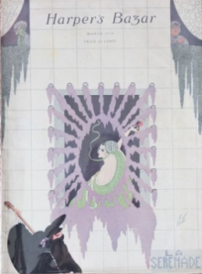 Harper's Bazar cover by Erté showing masked man serenading a woman, March 1918.